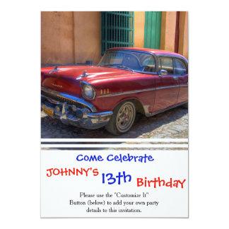 """Street scene with old car in Havana 5"""" X 7"""" Invitation Card"""