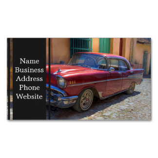 Street scene with old car in Havana Business Card Magnet