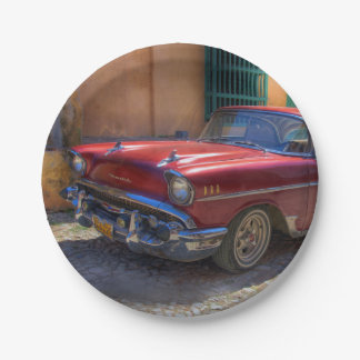 Street scene with old car in Havana Paper Plate