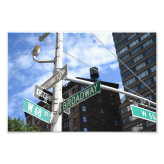 Street Sign Broadway W. 68th Upper West Side NYC