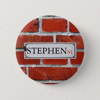 Street Sign on Brick Wall Personalize 2 Inch Round Button
