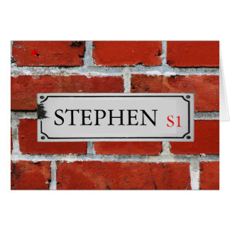 Street Sign on Brick Wall Personalize Card