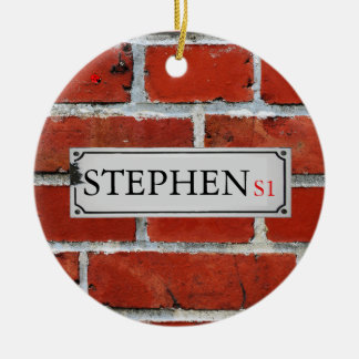 Street Sign on Brick Wall Personalize Ceramic Ornament