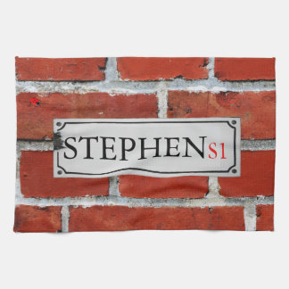 Street Sign on Brick Wall Personalize Kitchen Towel