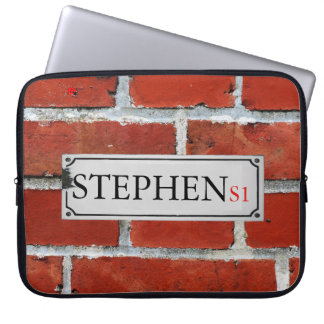 Street Sign on Brick Wall Personalize Laptop Sleeve