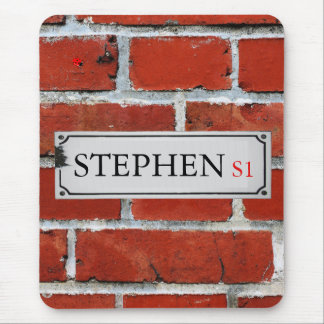 Street Sign on Brick Wall Personalize Mouse Pad