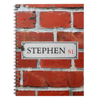 Street Sign on Brick Wall Personalize Notebook