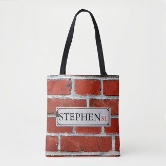 Street Sign on Brick Wall Personalize Tote Bag