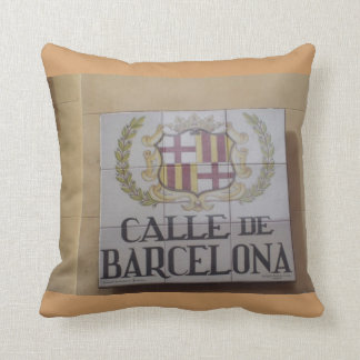 Street Signs of Madrid Throw Pillow