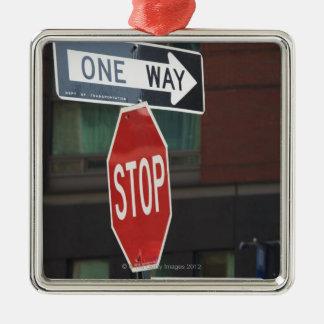 Street Signs Silver-Colored Square Ornament