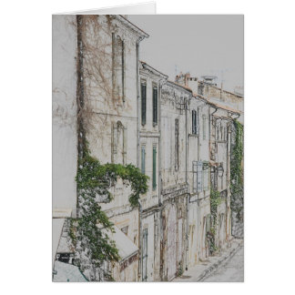 street view in the city of Arles, provence France Card