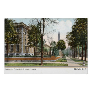 Street View of Buffalo, NY 1907 Vintage Poster