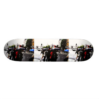 Street view of rainy day. skate board deck