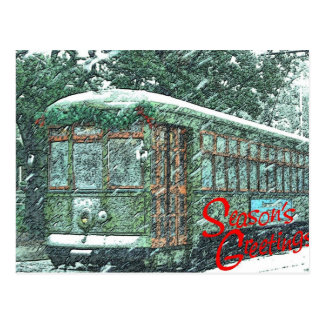 Streetcar in Snow Postcard