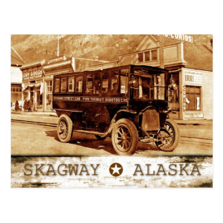 Streetcar on Broadway Ave., Skagway, Alaska Postcard
