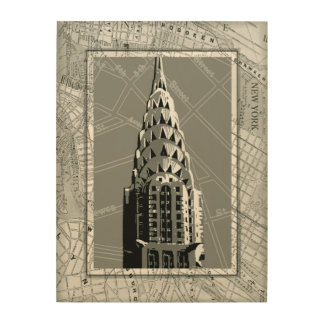 Streets of New York with Empire State Building Wood Canvases