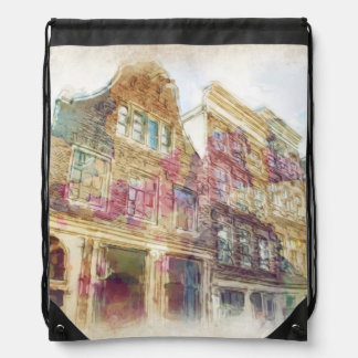 Streets of Old Amsterdam Drawstring Bag