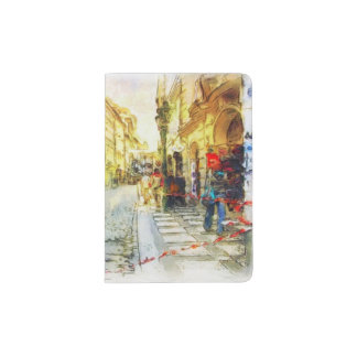 Streets of Old Prague watercolor Passport Holder