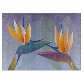 Strelitzia or bird of paradise flowers boards