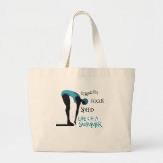 STRENGTH FOCUS SPEED LIFE OF A SWIMMER LARGE TOTE BAG