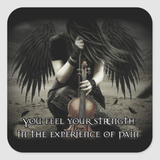 """Strength In Pain"" Angel Square Sticker"