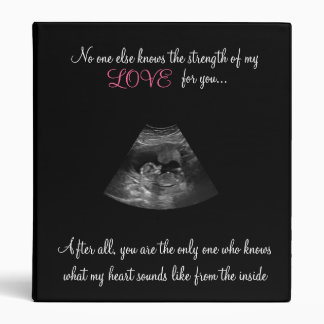 Strength Of A Mother's Love Sonogram Baby Book Vinyl Binder