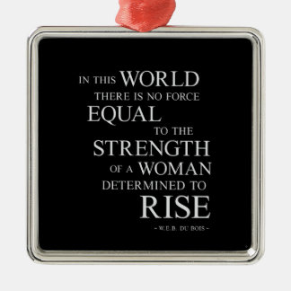 Strength Of Determined Woman Inspirational Quote B Silver-Colored Square Ornament