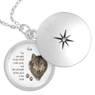 Strength of Family Wolf Fack Custom Name Silver Plated Necklace