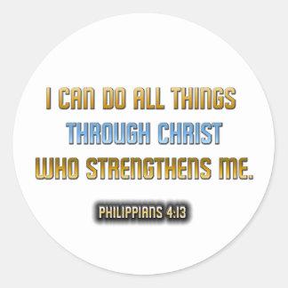 Strength Through Christ Classic Round Sticker