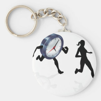 Stress Clock Race Concept Basic Round Button Keychain