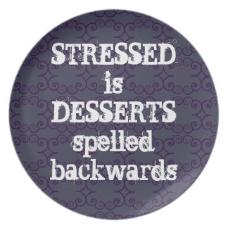 Stressed is Desserts, Spelled Backwards, purple Party Plate