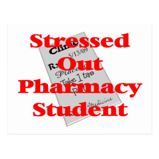 stressed out pharmacy student postcard