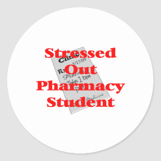 stressed out pharmacy student round sticker