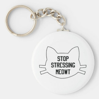 Stressing Meowt Basic Round Button Keychain