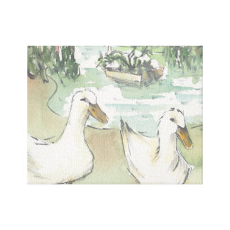"Stretched Canvas ""Watercolor Sketch/Ducks Paris"""