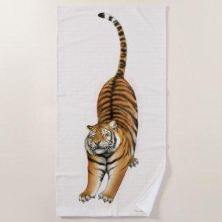 Stretching Bengal Tiger Beach Towel