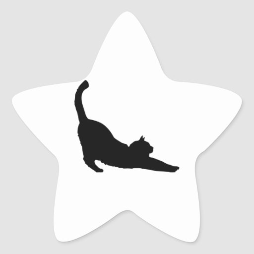 Stretching Black Cat Silhouette Star Sticker