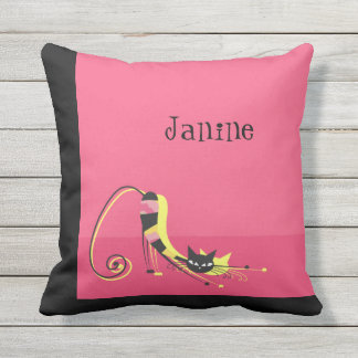 Stretching Black Striped Cat on Pink Throw Pillow