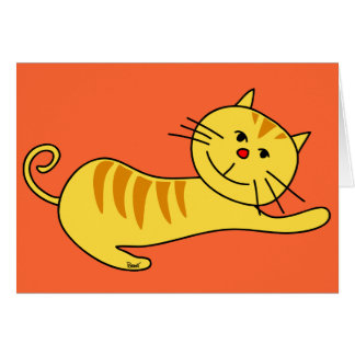 Stretching Lazily Cat Blank Card