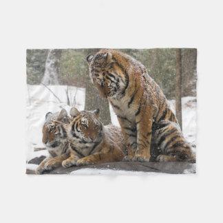 Stretching Tiger Fleece Blanket