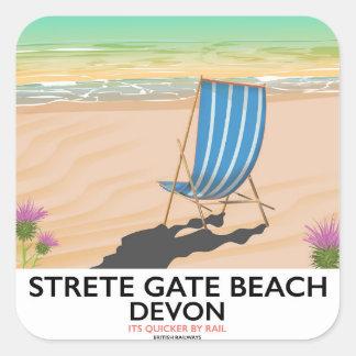 Strete Gate Beach Devon travel poster Square Sticker