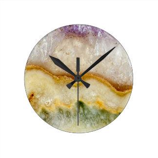 Striated Amethyst in Purple Gold & Green Round Clock