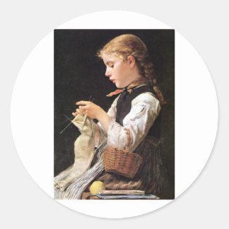 Strickendes Mädchen Knitting Girl Round Stickers