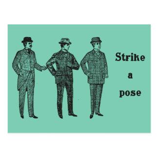 """Strike a Pose"" vintage dapper gents postcard"