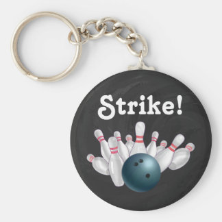 Strike! Blue Bowling Ball with Pins Key Chain