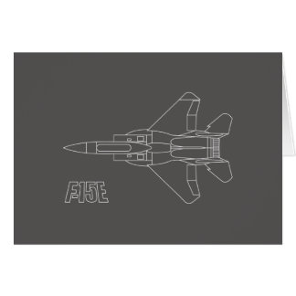 Strike Eagle Line Drawing on Gray Note Card