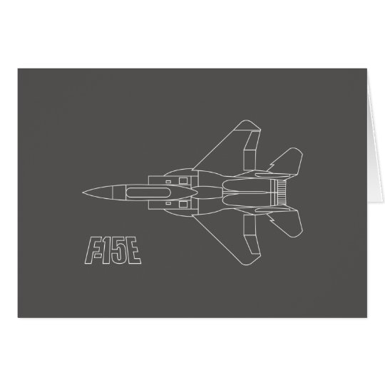 Strike Eagle Line Drawing on Grey Note Card