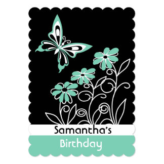 Striking Aqua Green Butterfly and Flowers Card