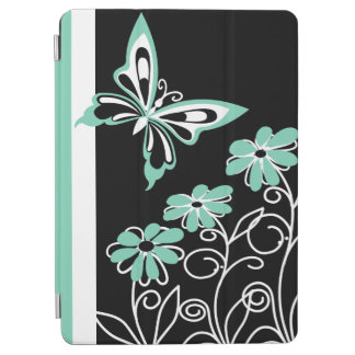 Striking Aqua Green Butterfly and Flowers iPad Air Cover