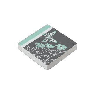 Striking Aqua Green Butterfly and Flowers Stone Magnets